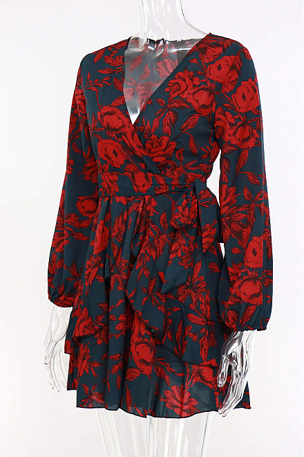 KHLOE FLORAL PRINT DRESS IN RED