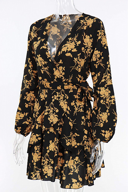KHLOE FLORAL PRINT DRESS IN YELLOW