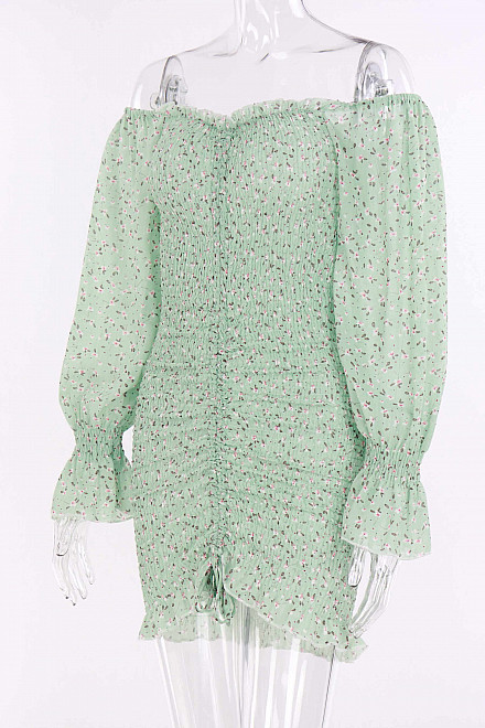 LILA FLORAL DRESS IN LIGHT GREEN
